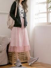 古典俏麗點點網紗中長裙