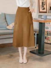 高含棉口袋造型抽鬚中長裙