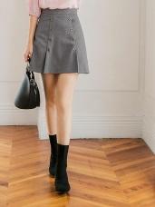 雙排釦剪裁造型口袋褲裙