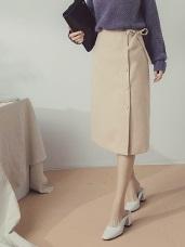 純色包釦排釦綁帶設計毛呢及膝中裙