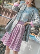 絲絨手感純色百褶裙
