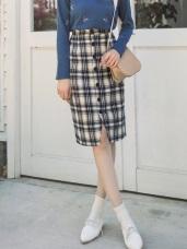 質感格紋配色磨毛排釦窄裙