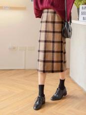 毛呢蘇格蘭格紋中長窄裙
