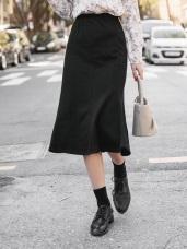 鬆緊腰頭純色針織兩穿式魚尾裙
