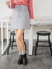 清新格紋配色合身A字短裙