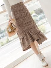不規則荷葉下襬格紋中長裙