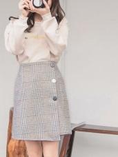 配色排釦格紋毛呢A字短裙