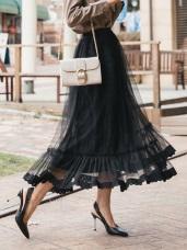 層次感蕾絲拼接網紗長裙