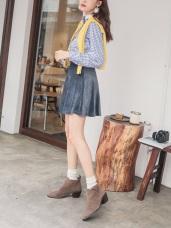 絲絨手感純色傘擺短褲裙