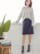 質感格紋磨毛彈性窄裙