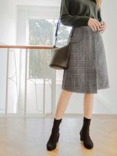 優雅英倫格紋小開衩窄裙