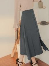 排釦設計前開衩中長裙