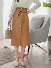 高含棉高腰綁帶合身排釦A字裙