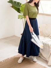 棉質鬆緊彈性腰頭傘襬牛仔長裙