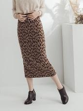 滿版豹紋下襬開衩中長窄裙