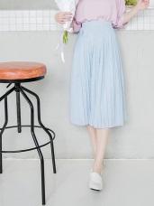 0321新品 面雪紡點點印花百褶中長裙