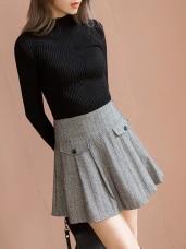 毛料簡約細條紋打褶短版褲裙