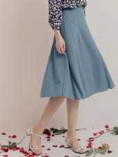 質感純色腰鬆緊中長圓裙