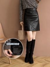 質感皮格帥氣黑色短褲裙