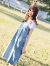 高含棉拉鍊設計純色斜紋吊帶裙