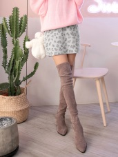 磨毛流行豹紋印花A字短裙