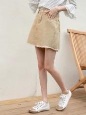 高含棉刷破抽鬚設計純色斜紋窄裙