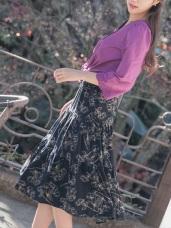 鬆緊腰頭優雅印花中長圓裙