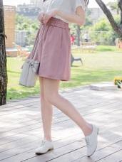 荷葉鬆緊腰頭純色短圓裙