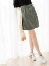 高含棉後腰鬆緊打褶短裙