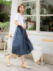 高含棉腰鬆緊繡線設計口袋裙