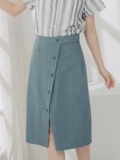 高含棉排釦設計中長裙