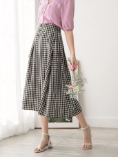 高含棉格紋排釦高腰中長裙