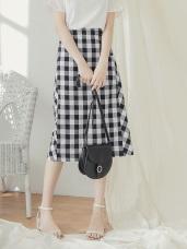 高含棉配色格紋排釦中長裙