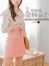 高含棉大口袋設計純色斜紋A字短裙