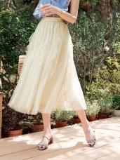 純色腰鬆緊荷葉百褶網紗長裙