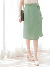 純色涼感不易皺雪紡綁帶設計中長裙