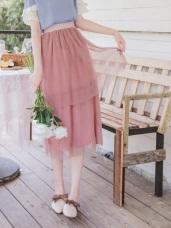 鬆緊腰頭純色浪漫網紗蛋糕裙