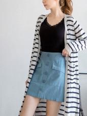 高含棉水洗面料造型口袋排釦短裙