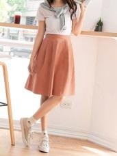 高含棉純色A字打褶設計中長裙