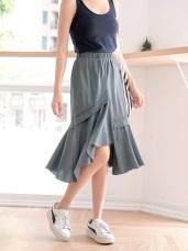 高含棉下擺不對稱拼接波浪裙襬中長裙