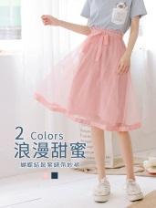 蝴蝶結綁帶鬆緊腰頭純色紗裙