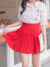 青春感純色百褶短褲裙