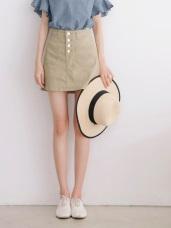 高含棉排釦設計斜紋短褲裙