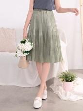 腰鬆緊微光澤百褶設計中長裙