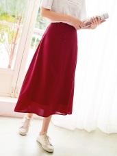 後鬆緊釦飾設計純色A字雪紡中長裙