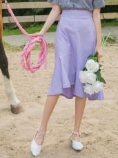 前短後長荷葉裙襬拼接純色魚尾裙
