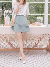 造型層次感荷葉拼接傘襬短裙