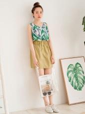 高含棉腰鬆緊排釦高腰花苞裙