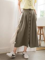 高含棉素色排扣後腰鬆緊長裙