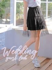 腰鬆緊層次蕾絲網紗拼接純色A字中長紗裙